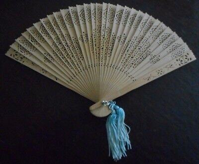 Beautiful Antique Chinese Fan Carved Wood Handheld Fan w Turquoise Tassel