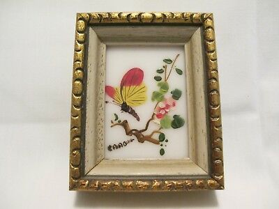 Vintage Miniature Framed Signed Butterfly Painting On Glass/acrylic