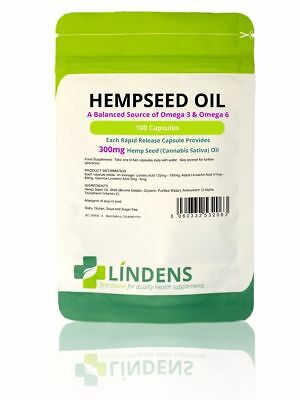 Hemp Seed Oil 300mg Capsules THC-Free Source Essential Fatty Acids Omega 3 & 6