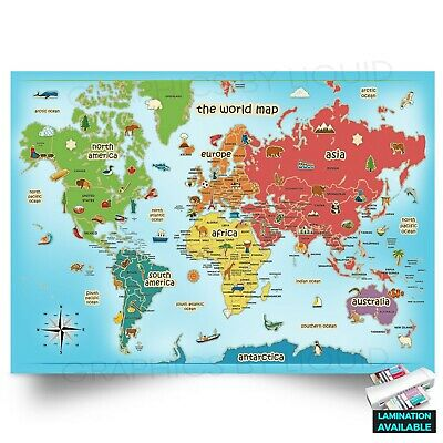 KIDS ANIMAL EDUCATIONAL MAP OF THE WORLD | A5 A4 A3 | Poster Print Decal