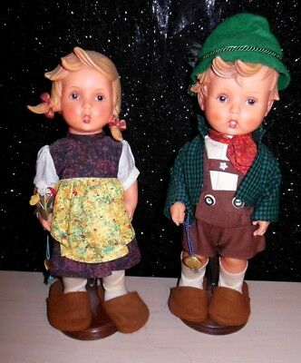 "Vintage Goebel Hummel 11.5"" Molded Vinyl Dolls ""Hansel and Gretel"" Germany  EUC"