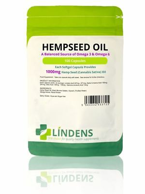 Hemp Seed Oil 1000mg 100 Capsules Source of Essential Fatty Acids Omega 3 & 6