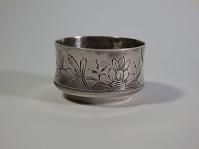 Antique Russian Silver (84) Salt Cellar With Hand-Engraved Floral Ornaments