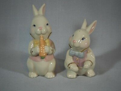 "Lenox Porcelain Easter Bunny Salt + Pepper Shakers 3 3/4"" H With Stoppers"