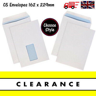 QUALITY WHITE SELF SEAL C5 ENVELOPES PLAIN OR WITH WINDOW 90gsm Strong 162x229mm