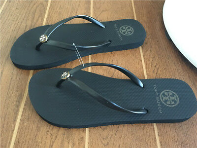 91e6f7e3bcb2 New TORY BURCH Flip Flop Black Gold Logo Sandals thin sole Authentic sz 6 7  8