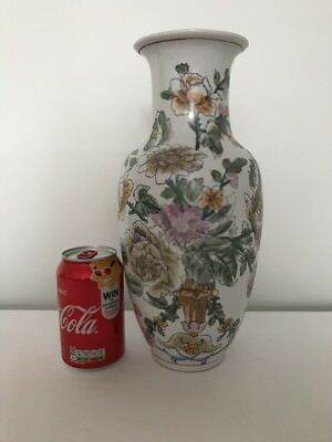 Large Chinese Vintage Vase - Decorated with Flowers , Hand Painted