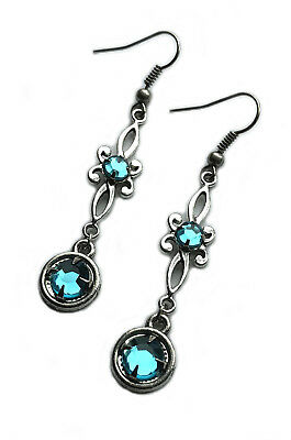 Elven Elf Filigree Silver Bridal Wedding Medieval RENAISSANCE EARRINGS Stones