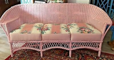 Antique Vintage Shabby Chic Wicker Sofa