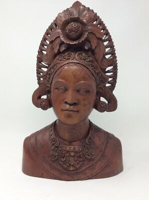 Hand Carved Balinese Head Statue of Dancer H36 L10 W23.5cms