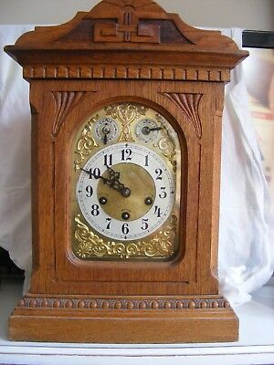 BEAUTIFUL ORNATE BRASS OAK CASED MANTLE CLOCK c1890s WESTMINSTER CHIME STUNNING