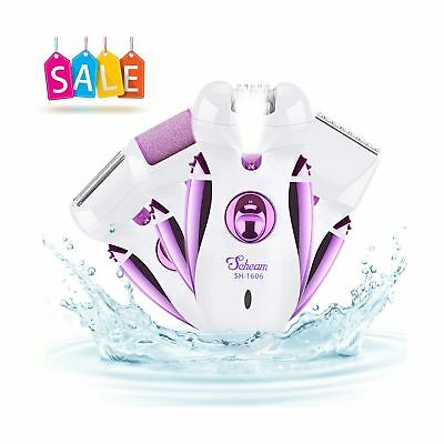 Rechargeable Electric Epilator, Scheam 4 in 1 Callus Remover Shaver Hair Clip...