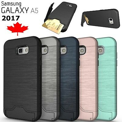 For Samsung Galaxy A5 2017 Shockproof Hybrid Card Slot Kickstand Hard Cover Case