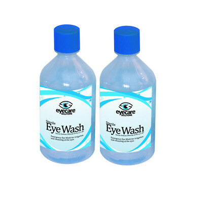 2x 500ml STERILE SALINE Eye Wound Wash Solution Bottle First Aid Eyewash Clean