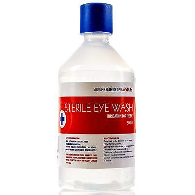 500ml STERILE SALINE EyeWash, First Aid Wound Solution Bottle, Various Qty