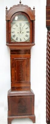 Antique Mahogany 8 Day Longcase Grandfather Clock Hyman Cardiff Hunting Interest