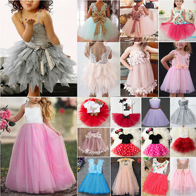 Flower Girls Baby Princess Dress Party Wedding Pageant Tulle Bridesmaid Dresses