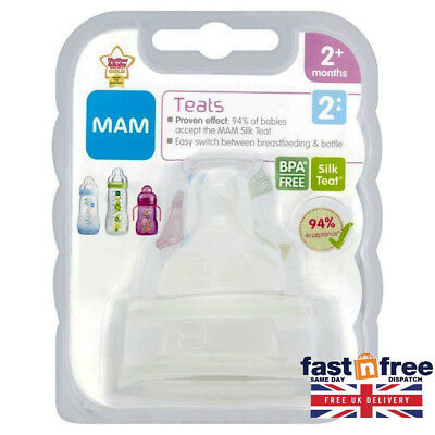 Mam Medium Flow Teats 2-Pack Free Next Day Delivery Baby Bottle Bpa Free Size 2