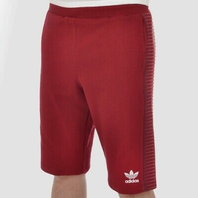 831342452 adidas Originals Mens Mezcla Knee Length Red Cotton Trefoil Shorts | AO2837