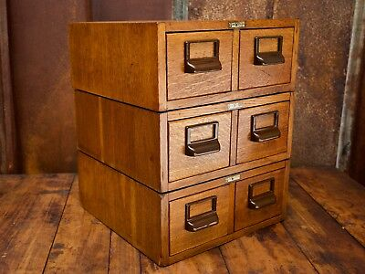 Antique 2 Drawer Card Catalog Table Top File Cabinet Tiger Oak Globe Wernicke