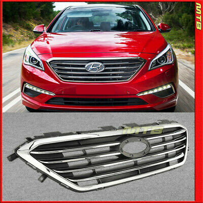 For 2017 Hyundai Sonata Front Grille Y Upper Insert Black Chrome Trim