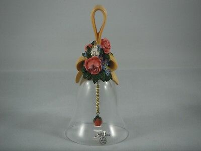 """Avon Floral Bouquet Bell Over 24% Full Lead Crystal 1989 5 1/2""""H"""