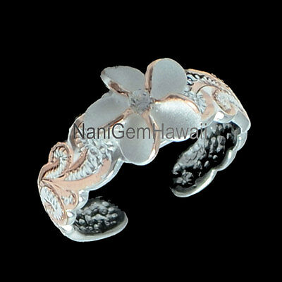 Hawaiian 925 Sterling Silver 14k Rose Gold Plate Scroll 8mm Plumeria Toe Ring 2T
