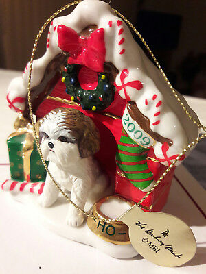 RARE 2009 3rd ANNUAL Danbury Mint SHIH TZU Christmas Ornament - Dog House