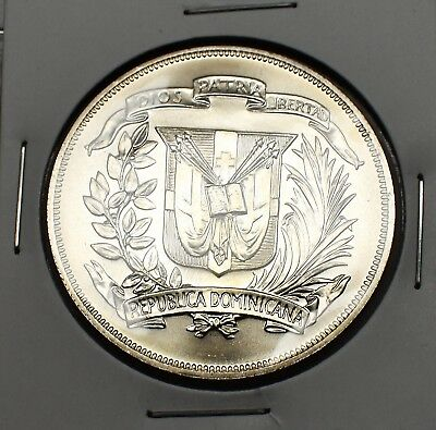 1974 Dominican Republic Gem Silver Peso .77259 Oz Asw Of .9000 Fitness