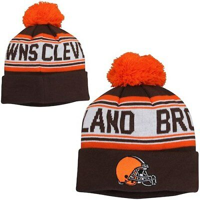 the best attitude 7618d b4933 Cleveland Browns Youth Brown Cuffed Knit Hat with Pom
