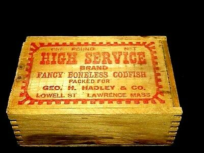 Antique Vtg High Service Codfish Box Packed For Hadley Co Lawrence Mass