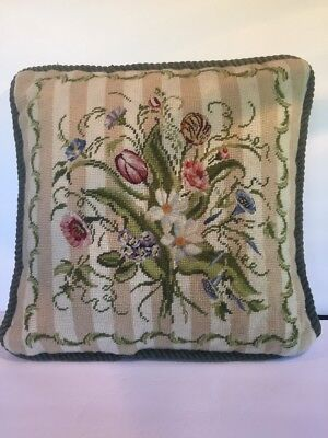 Imperial Elegance Vintage Petit point Wool pillow needlepoint floral Handmade