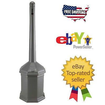 "Smokers' Outpost 42"" Gray Site Saver Outdoor Ashtray Cigarette Receptacle"