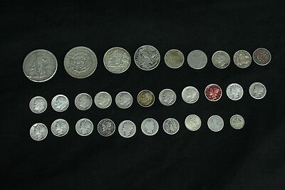 One Lot of 30-Silver Coins From Around the World Inv #360