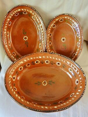 Set of 3 Nested Vintage Dishes Mexico Red Clay Pottery