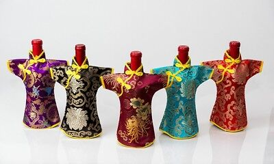 Chinese Cheongsam Wine Bottle Cover Silk Brocade Bottle Decor Budget Gift Bag