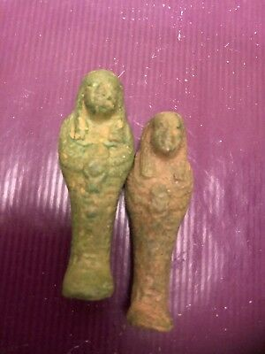 Rare-Ancient-Authentic-Egyptian 2 Faeince-Ushabti-Shabti-600BC