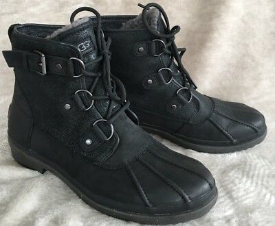 37e340a4db1 UGG WOMEN'S SIZE 9 Cecile Black Waterproof Leather Duck Boots Cozy Dry Wool  Cute