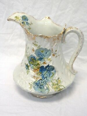 Antique English Victorian Style Pottery Pitcher | Hand Painted Flowers Gold Trim