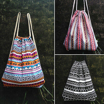 Boho School Drawstring Bag Sport Gym Sack Swim Canvas Kit Shoes Sports Backpack