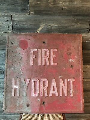 Vintage Fire Hydrant Tin Embossed Sign