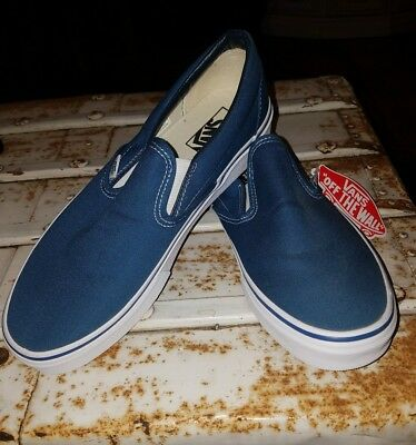 e0e3d9d971f3 Men s VANS OFF THE WALL Slip on Solid Blue Canvas Skate Shoes Sneakers size  9.5