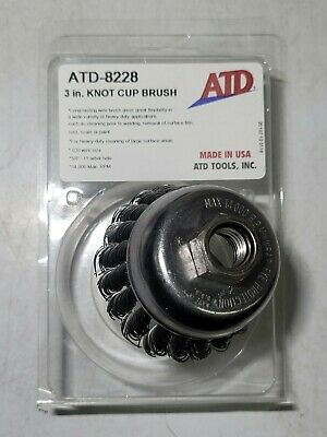 "ATD 2-3/4"" Knotted Wire Brush Cup Wheel fits 5/8""-11 Threaded Arbor #8228"