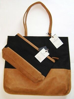 52336d1561 Hearth Hand Magnolia Canvas Leather Tote Bag   Cosmetic Case SET Black Tan  NWT