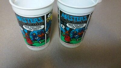 (2) Vintage 1985 Pepsi Burger King Masters Of The Universe He-Man/Roboto Cups