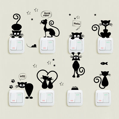 Black Cute Cat Wall Stickers Decal Light Switch Home Vinyl Decal Decor Mural AU