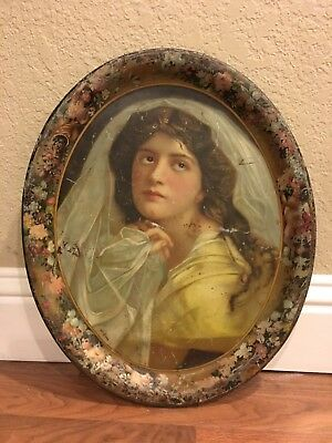 RARE Victorian Bride In Veil Litho Beer Advertising Tray Antique
