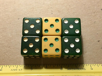 """6 Catalin Bakelite Dice approx 5/8"""" No Chips/Cracks SemiChrome tested positive"""
