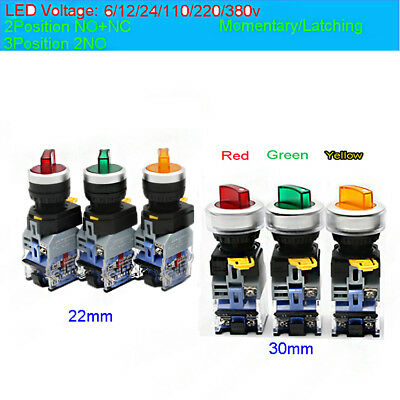 20/30mm Light Illuminated Rotary Selector Switch Home 2/3Position 6/12/24/380V