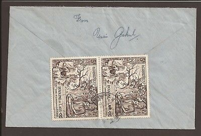 Laos 1956 cover. Stamps on reverse. Birth of Buddha 2500th anniversary
